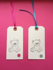 5 X HANDMADE LARGE WHITE TEDDY BEAR GIFT TAGS BABY SHOWER BIRTHDAY NEW BABY