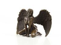 9973473-dss Bronzo Scultura Statua Nuda con Ali 9x15x7cm