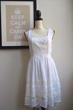 Band Of Gypsies High Low Hem Lace Trim Stretch Waist Sleeveless Dress White M