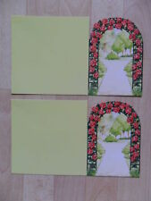 4 x Doppelkarte / Karten  (neu) Rosenbogen