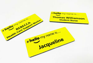 Personalised Yellow Hello My Name is Printed Logo Badge NHS GP Practice Manager