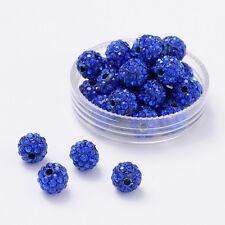 12 unidades pedrería perlas beads perlas Shamballa azul oscuro 8 mm (1152)