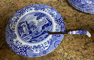 Spode Blue Italian Collection 2 Piece Cheese Plate with Knife, Porcelain