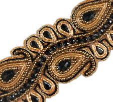 "1.5 Yards Beaded Trim Black Paisley Gold Bullion & Black Beads & Sequins 2"" Wide"