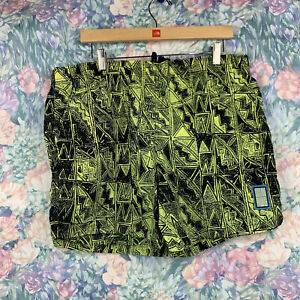 Vintage OP Ocean Pacific Mens LG Abstract Neon Lime Green Board Shorts Trunks