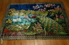 "Huge Vintage Velvet Peacock Tapestry Wall Hanging Bright Colors 73"" x 48"" Beauti"