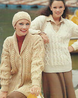 "Ladies Chunky & DK Knitting Pattern Aran Jacket Sweater Hat 32-40"" 578"