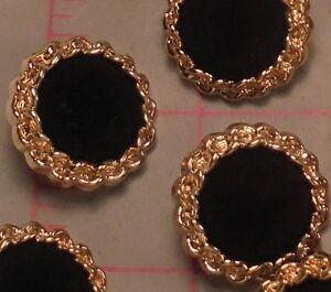 """10 Buttons Gold w Black Velvet Center Stella Dora Style 1"""""""