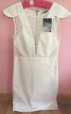Saboskirt.com White Bodycon Dress W/ Peekaboo Lace Detail Sabo SZ 6 EU XS US NWT