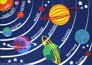 8x11 Universal  Area Rug  Solar System Kids Educational School Planet Universe