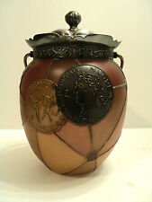 "RARE MT. WASHINGTON ""ROYAL FLEMISH"" ART GLASS BISCUIT / CRACKER JAR, COIN DESIGN"