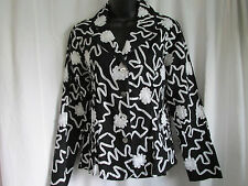 """LAURA ASHLEY"" JACKET/L-SLEEVE/MINT/BLACK/-S- FLORAL100% COTTON WORE ONCE/CASUAL"