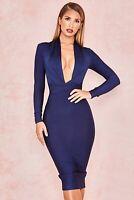 Womens celeb boutique navy blue draped bandage bodycon over knee length dress