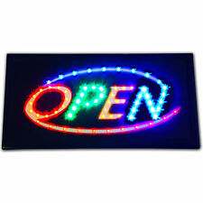 "Bright Animated LED Multi Colorful Open Store business window Sign 19x10"" neon"