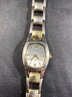Ladies Fossil F2 Silver Gold Tone Link Band Bracelet Analog Watch ES 9525 B5