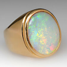 14K Solid Yellow Gold Natural Ethiopian Fire Opal Gem Stone Fine Men's Ring