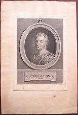 Eau-forte, Portrait de Crebillon, Pierre-Étienne Moitte, d'après de la Tour