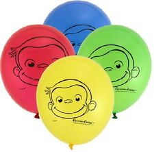 """(8) Curious George Monkey Jungle 12"""" Birthday Party Decoration Latex Balloons"""