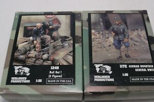Lot 2 Verlinden German Soldier WWII Diorama 1:35 Resin Figure General Bail Out