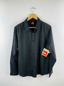 Quicksilver Men's NWT Long Sleeve Button Up Collared Shirt Size M Black New