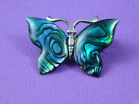 Vintage Abalone Shell Butterfly Brooch Silver Tone 1.25 Inch