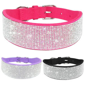 Bling Rhinestone Pet Dog Wide Collar Suede Leather Necklace for Medium Large Dog