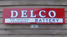 "DELCO BATTERY VINTAGE STYLE 1'X46"" 3 COLOR METAL DEALER SIGN-GARAGE ART"