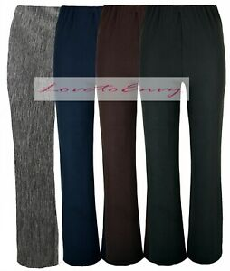 Ladies GREY Fine Ribbed Bootleg Trousers STRETCH Elasticated Easy Care Trousers