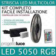 KIT STRISCIA A LED RGB SMD 5050 5MT CON ALIMENTATORE E TELECOMANDO 24 KEY