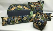 Footstool Pouffe Stool William Morris Blue Strawberry thief dark wood collection