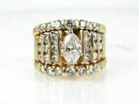 2.6Ct Marquise Cut VVS1 Diamond Engagement Wedding Ring Set 14K Yellow Gold Over