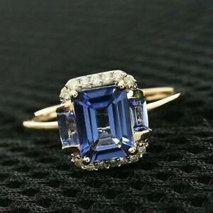 2 Ct Emerald Cut Tanzanite & Diamond Halo Engagement Ring 14K Yellow Gold Over