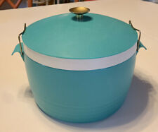 Vintage Sunfrost Therm-o-ware Turquoise Aqua Insulated Bowl Ice Bucket MCM
