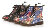 Womens Retro flowers lace Military Mid-Calf Shoes Combat Ankle Boot Biker New