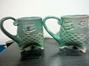 Lot of 2 Studio Art Pottery Mermaid Tail Handle Coffee/Tea Mug Cups Fishtail