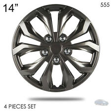 "NEW 14"" ABS GUNMETAL LUG STEEL WHEEL HUBCAPS COVER 555 FOR NISSAN"