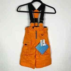 Obermeyer Volt Suspender Ski Bib Preschool Sz 1 Orange Insulated I-GROW Toddler