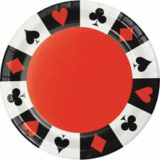 "** 8 x CARD NIGHT 7"" PARTY PLATES POKER CASINO SUITS VEGAS GAMBLING TABLEWARE"
