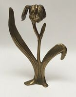 """Vintage Art Nouveau Solid Brass Flower/Leaf Candlestick Candle Holder 9 1/2"""""""