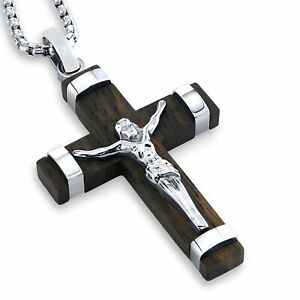 """Wooden Crucifix Cross Necklace Pendant 24"""" Stainless Steel Silvertoned Box Chain"""