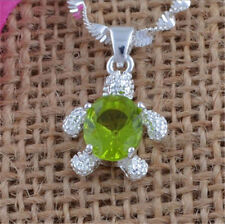 Women Fashion Jewelry 925 Silver Chain Zircon Crystal Turtle Pendant Necklace