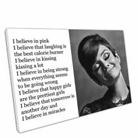 Print on Canvas Audrey Hepburn quote I believe in pink Wall Art 30x20 Inch