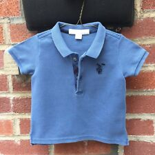 🇬🇧6 Months Authentic Burberry Polo T-shirt Tee Baby Boys Jeans Blue Check Kids