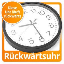 Rückwärts laufende Uhr rückwärtslaufende Wanduhr Rückwärtsuhr XXL 30cm