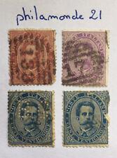 Lot 4 timbres Italie oblitérés. YT IT 34, 36 (*2), 38. 1879/82