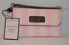 Victoria`s Secret Pink Stripe Phone Whistle w Mirror Interior Pockets Wallet