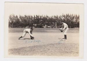 vtg 1930s Red Rolfe Don Heffner snapshot photo in action Yankees