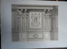Grande gravure d' architecture, lambris chapelle de Chantilly…