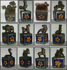 New listing Rare Antique Qing Dynasty Chinese Silver Zodiac Cloisonné cube statues