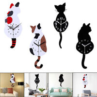 Cat Tail Swing Wall Clock Modern Design Living Room Home Decor Silent Watch